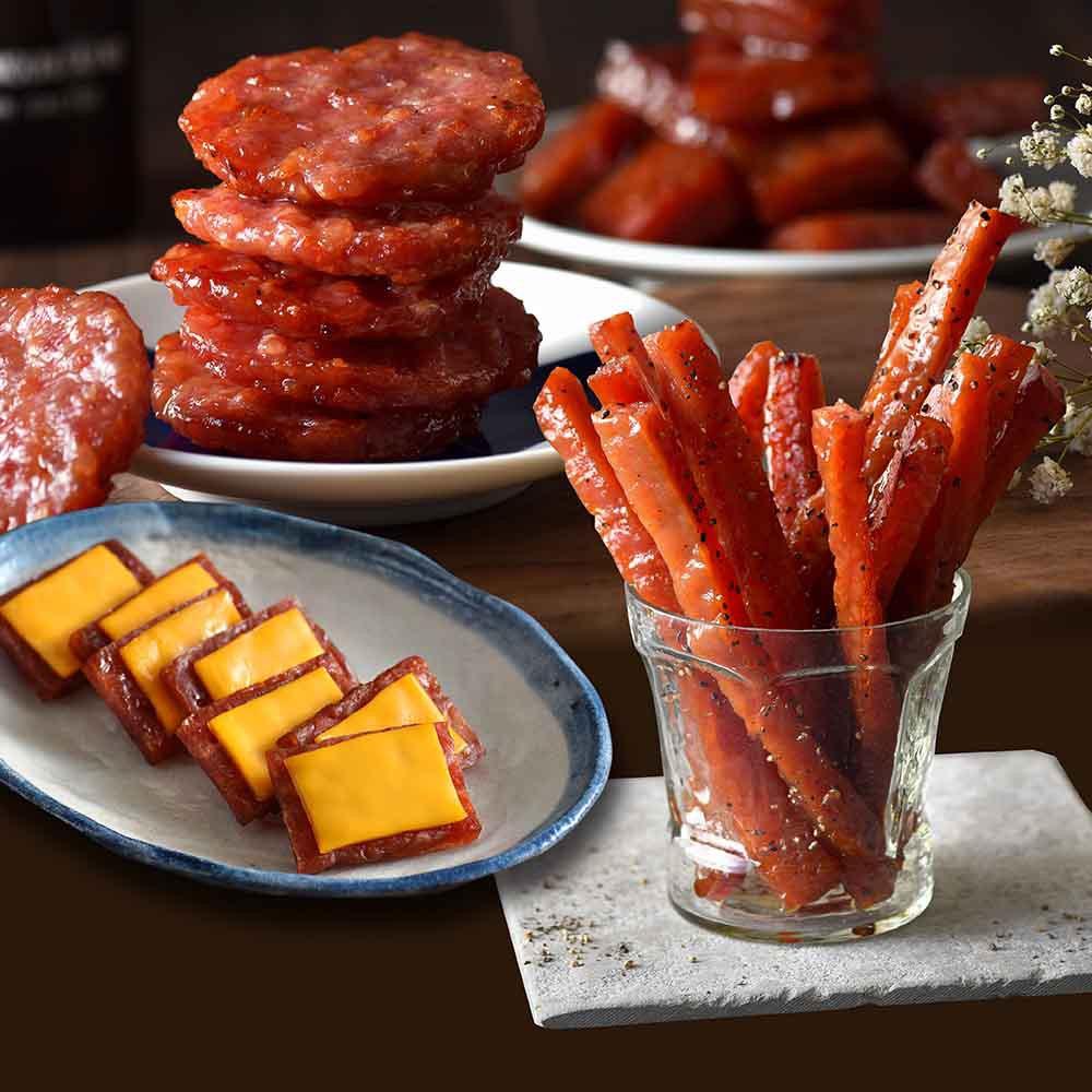 【可味肉乾】熱銷肉乾組-圓燒肉乾+起司乾條+人氣肉乾條【領卷免運】肉乾推薦/零食/美食/伴手禮/團購