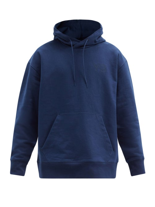Y-3 - Logo-print Cotton-jersey Hooded Sweatshirt - Mens - Navy