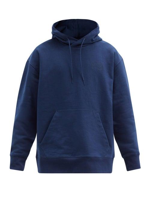 Y-3 - Logo-print Cotton-jersey Hooded Sweatshirt - Mens - Navy
