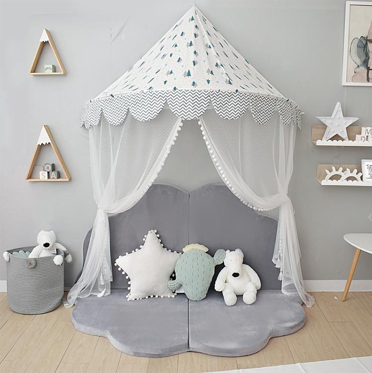 兒童帳篷 北歐風兒童帳篷游戲屋兒童房壁掛嬰兒蚊帳床頭裝飾半月床幔讀書角