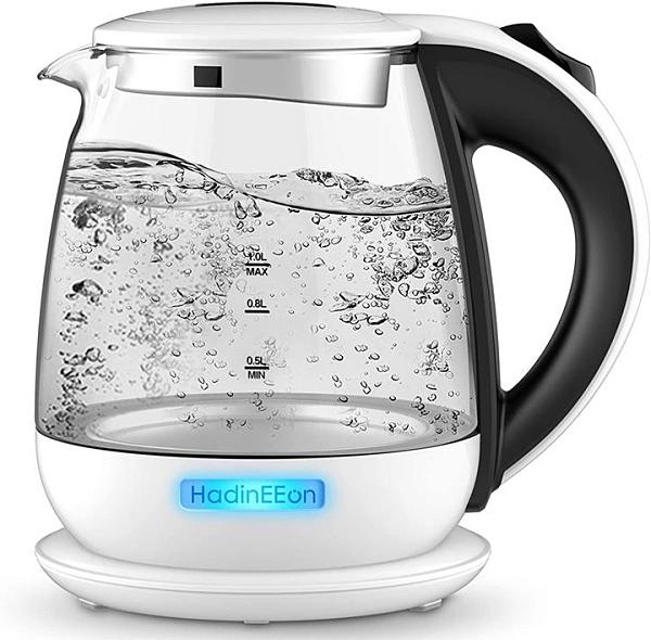 【日本代購】電熱水壺770W 快速沸水電熱水壺耐熱&耐酸性硼矽玻璃 1L大容量電水壺隔熱手柄