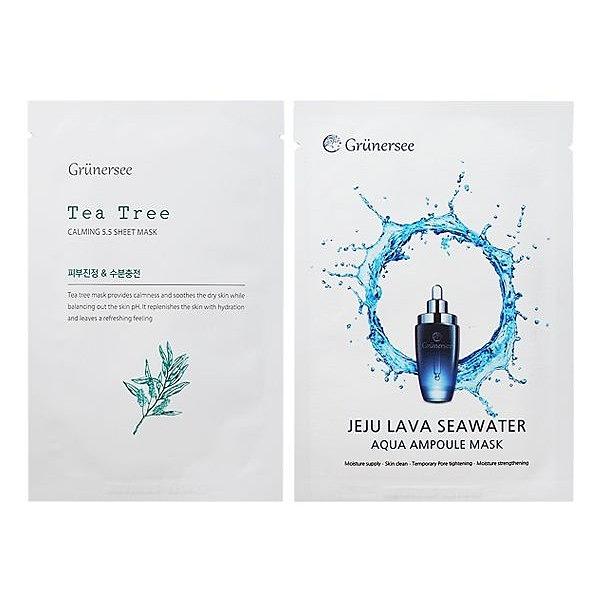 韓國 GRUNERSEE 茶樹5.5鎮定/濟州島熔岩海水精華 面膜(單片入) 款式可選【小三美日】