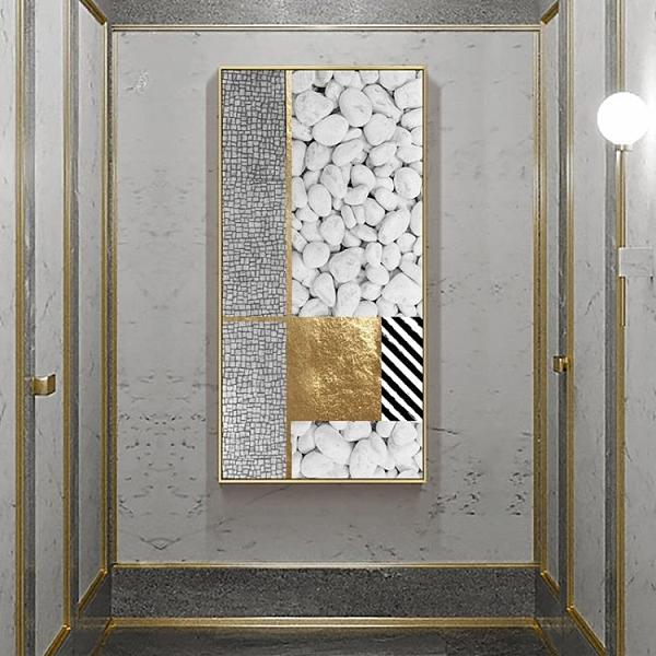 現代輕奢灰金色裝飾畫豎版抽象玄關走廊掛畫別墅巨幅壁畫43*83