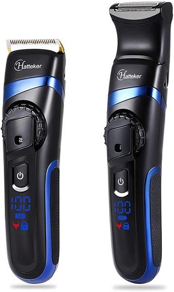 【日本代購】Hatteker 理髮器 2合1 電動理髮器 刮鬍刀 水洗  附件 6種 修剪 套裝 LED 5級修剪高度調節