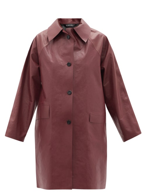 Kassl Editions - Above Oil Coated Cotton-blend Trench Coat - Womens - Burgundy