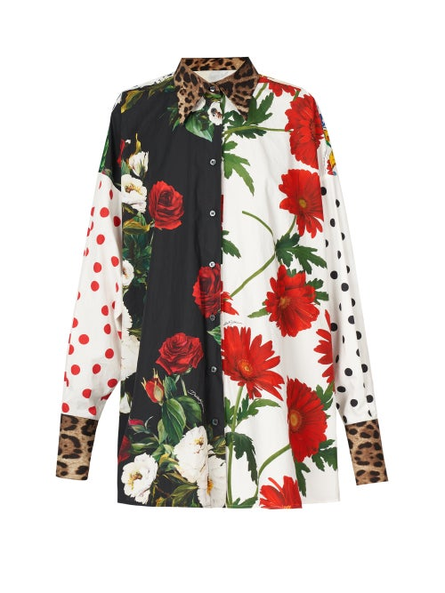 Dolce & Gabbana - Panelled Floral And Majolica-print Cotton Shirt - Womens - Multi