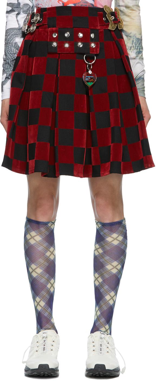Chopova Lowena 红色 & 黑色 Checkerboard 半身裙