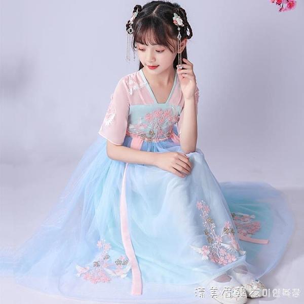女童漢服中國風童裝兒童復古唐裝超仙禮服連衣裙女孩古裝雪紡裙子 美眉新品