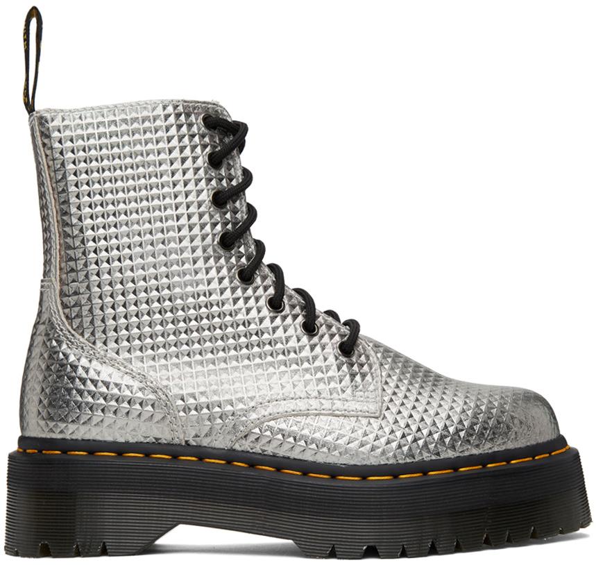Dr. Martens 银色 Jadon Stud Emboss 踝靴