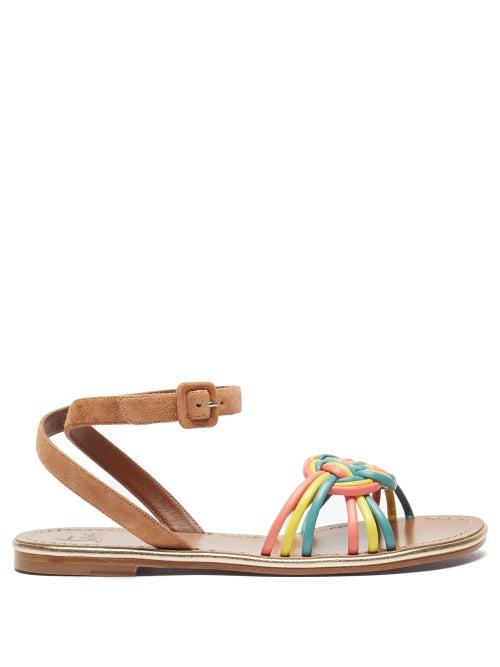 Christian Louboutin - Ella Braided Leather Flat Sandals - Womens - Multi