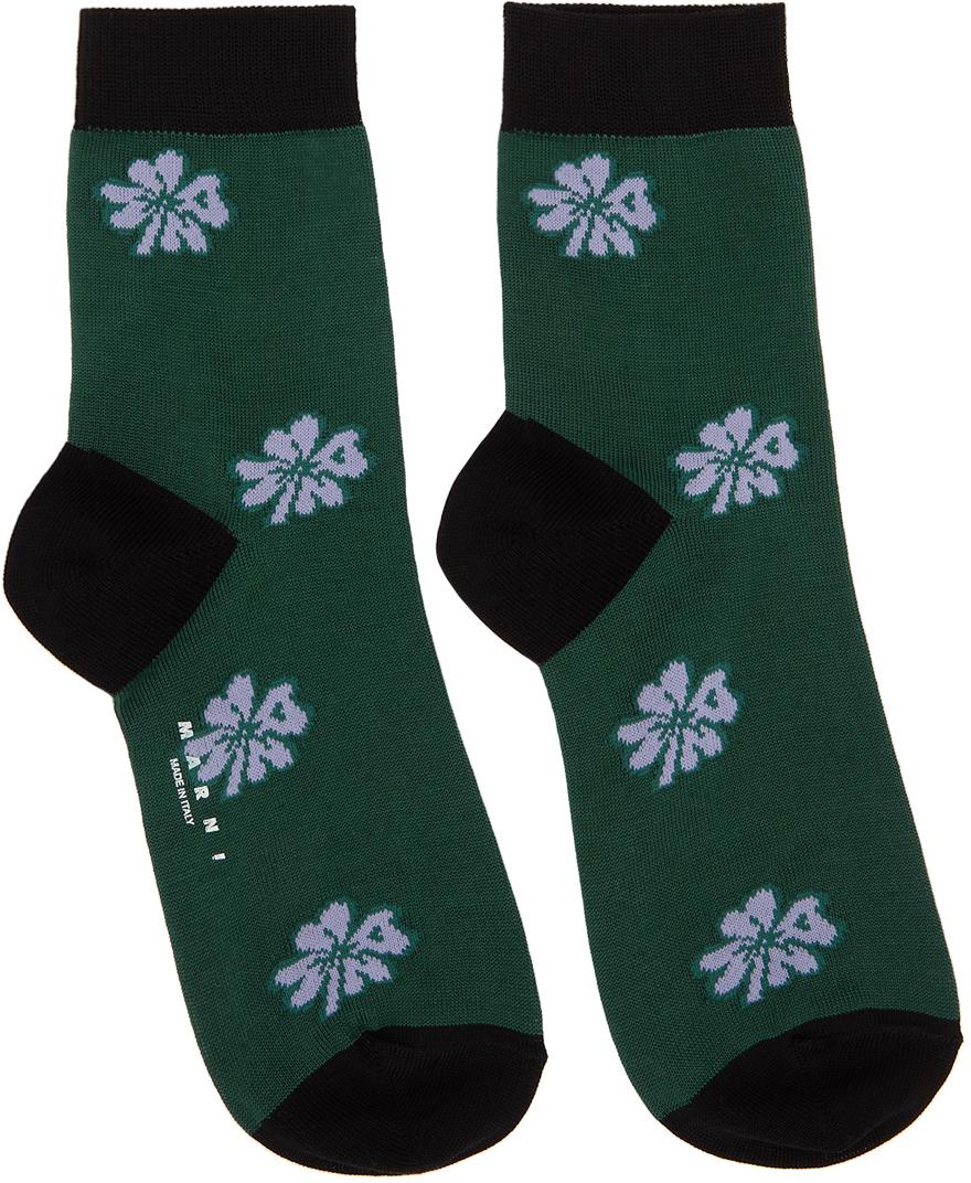 Marni 绿色 Clover 中筒袜