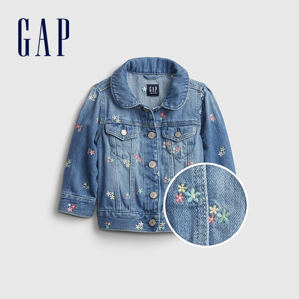 Gap 嬰兒 純棉花卉刺繡牛仔外套 669592-中度水洗