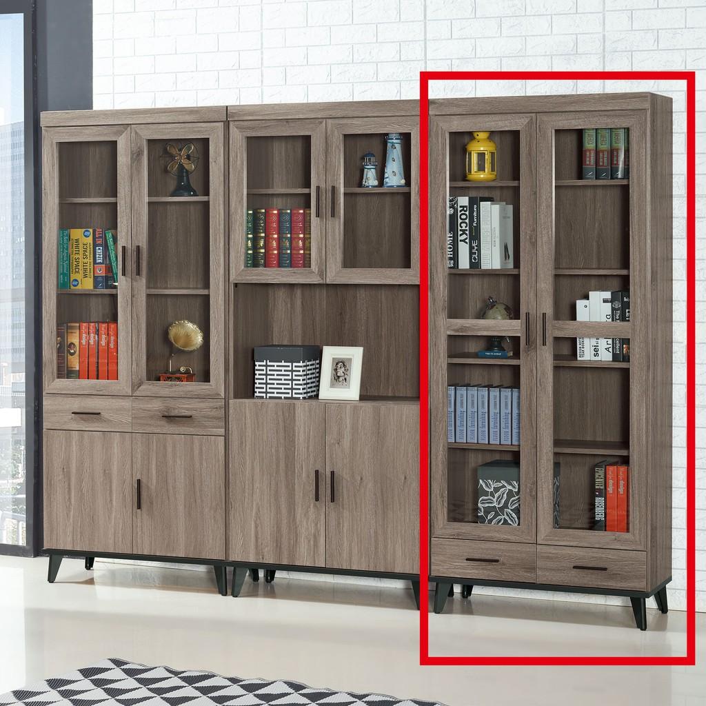 【81cm下抽書櫥-C743-4】北歐工業 置物櫃 玻璃實木 書房書櫃書架 櫥櫃 層架收納整理 【金滿屋】
