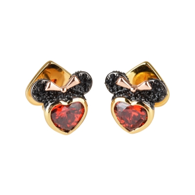 kate spade New York X Disney聯名款米妮設計鑽鑲飾穿式耳環(金x黑x紅)