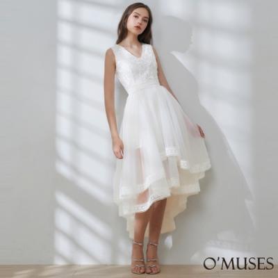OMUSES V領刺繡蕾絲伴娘前短後長禮服