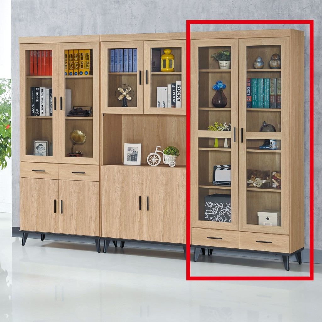 【81cm下抽書櫥-C741-3】北歐工業 置物櫃 玻璃實木 書房書櫃書架 櫥櫃 層架收納整理 【金滿屋】