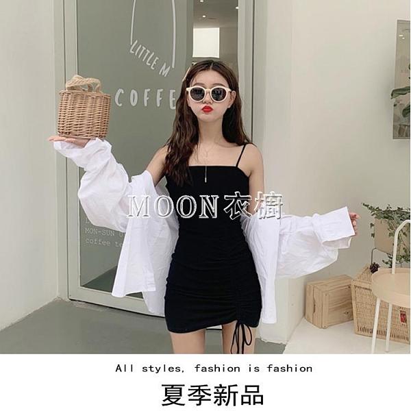 小黑裙少女吊帶洋裝內搭打底黑色包臀緊身裙子春夏季新款2021潮 母親節特惠