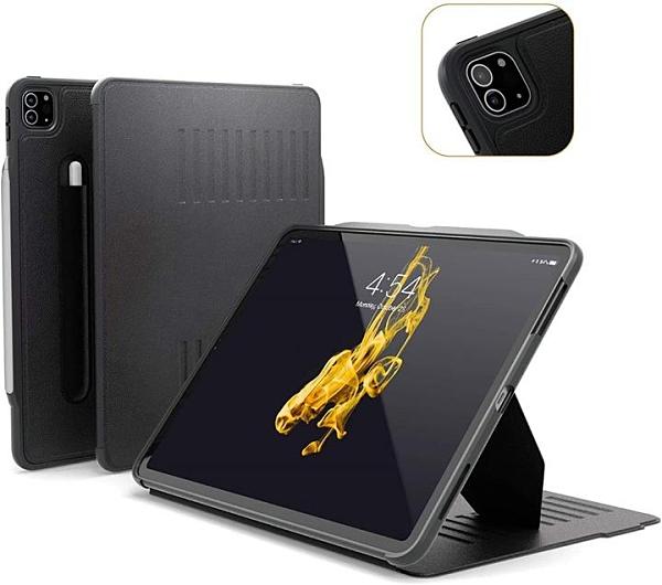 【日本代購】ZUGU iPad Pro 12.9 保護殼 超薄 10級支架功能 筆架 無線充電 保護套 黑色