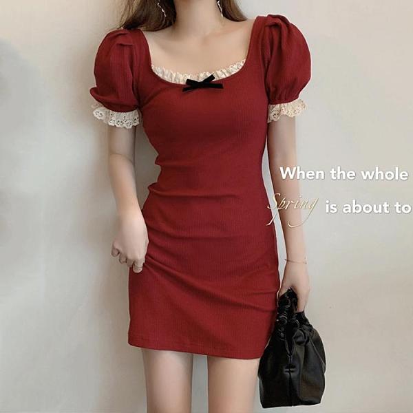 大碼胖mm蕾絲花邊連身裙女夏季收腰顯瘦法式短裙子方領性感包臀裙 伊蘿