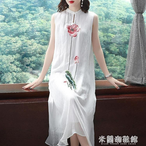 中國風洋裝 2021夏新款中國風氣質刺繡高貴闊太太旗袍式無袖背心雪紡連衣裙 618大促銷