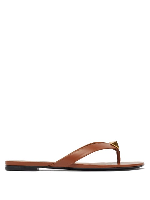 Valentino Garavani - Roman Stud Leather Flip Flops - Womens - Tan