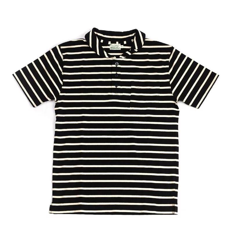 Burgus Plus - S/S Shawl Collar Polo Shirt (White x Navy)