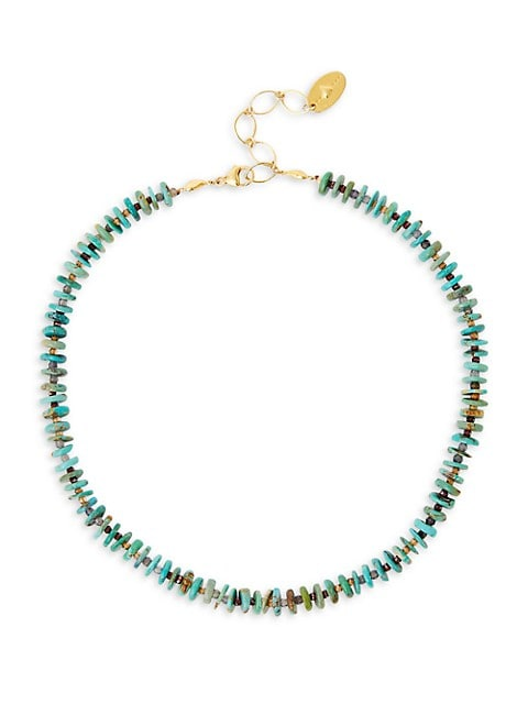 18K Goldplated, Natural Turquoise & Mixed-Stone Necklace