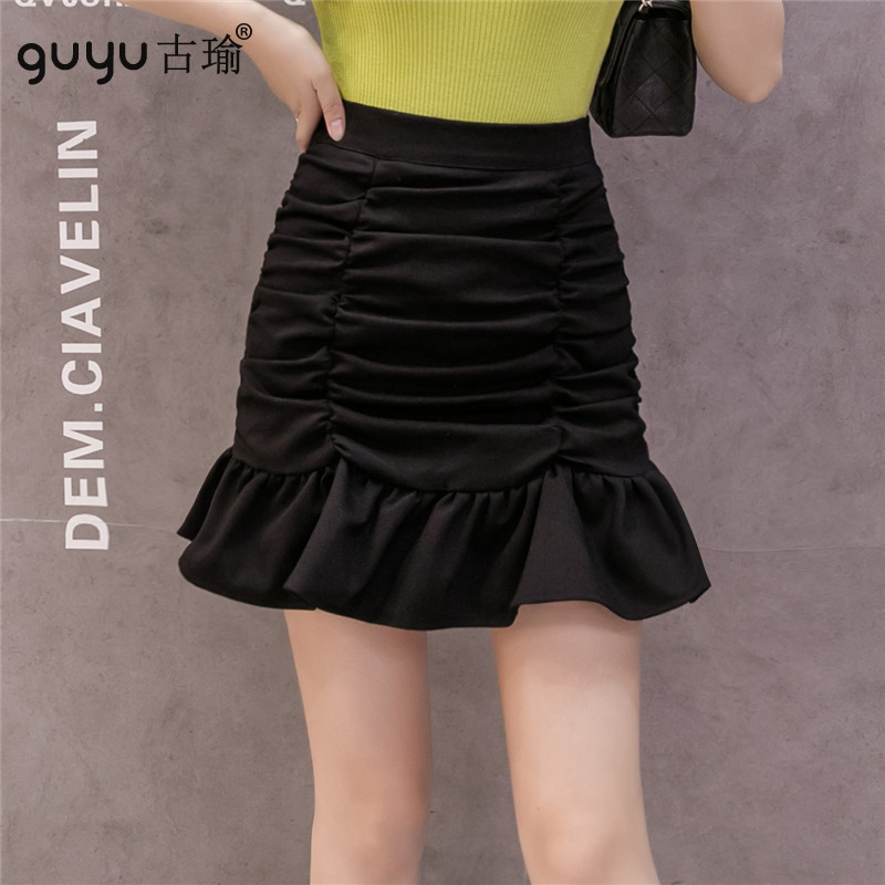 短版魚尾裙 S-2XL防走光四季裙縮皺高腰包臀裙褲裙 MINI裙