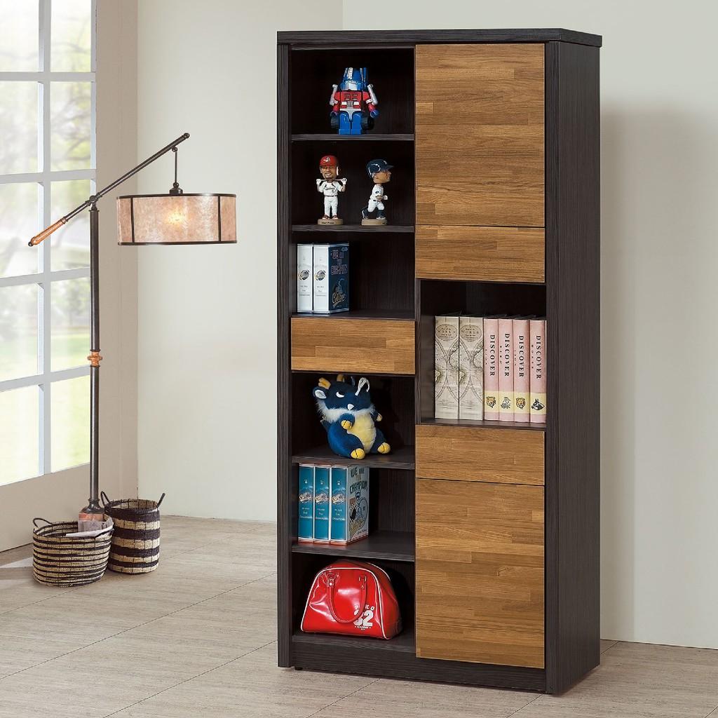 【80cm書櫥-C752-4】北歐工業 置物櫃 玻璃實木 書房書櫃書架 櫥櫃 層架收納整理 【金滿屋】