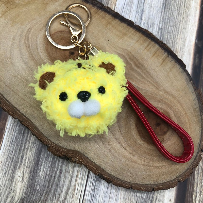 老虎-毛線編織 動物鑰匙圈吊飾 手腕帶吊飾