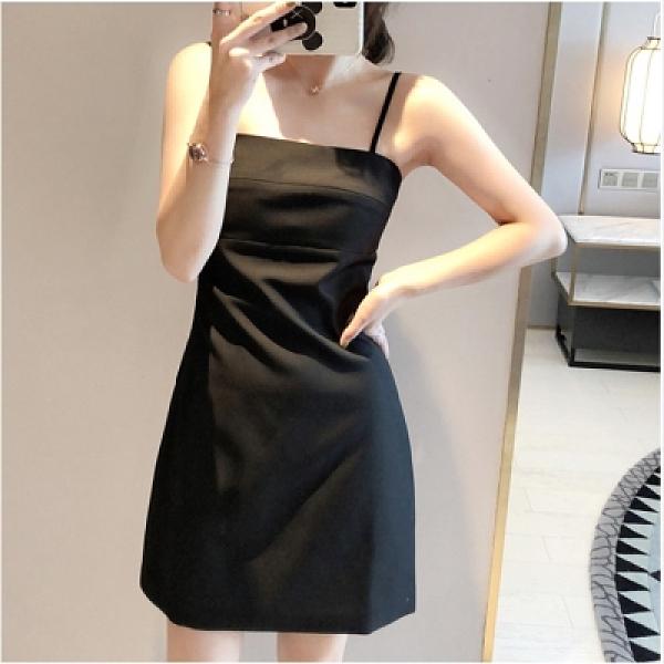 方領洋裝 小黑裙2021春秋新款小個子連身裙設計感小眾外穿黑色吊帶裙子女夏 嬡孕哺