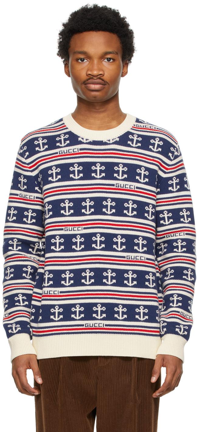 Gucci 海军蓝条纹针织衫