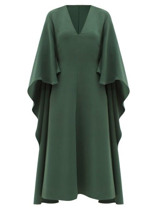 Valentino - V-neck Cape-sleeve Silk Cady Couture Midi Dress - Womens - Green