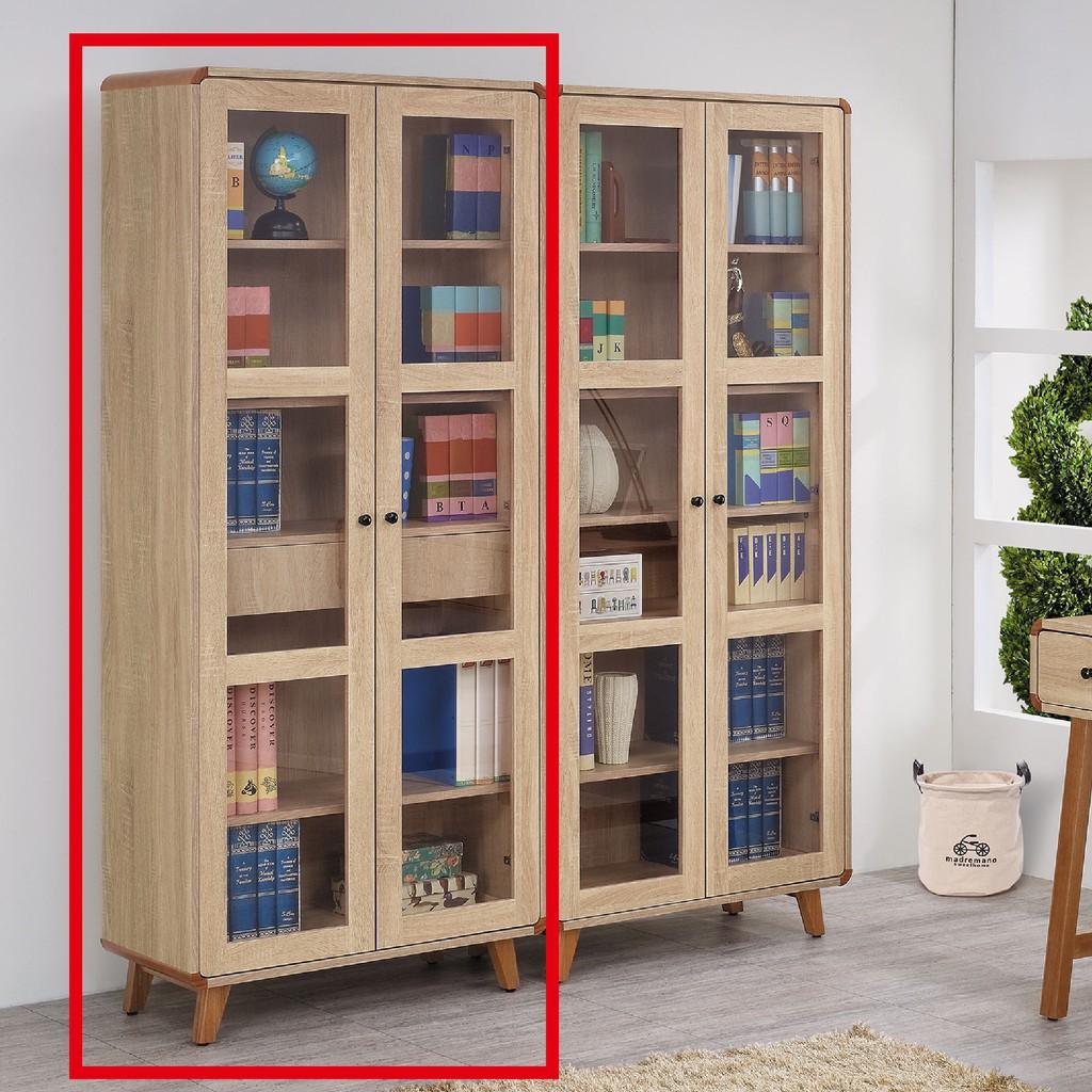 【81cm內抽玻門書櫥-C738-2】北歐工業 置物櫃 玻璃實木 書房書櫃書架 櫥櫃 層架收納整理 【金滿屋】