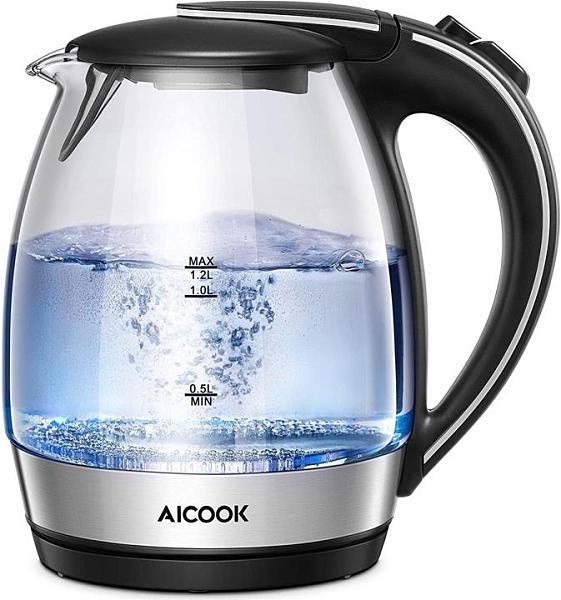 【日本代購】電熱水壺 1.2升 玻璃水壺 950W 一鍵操作 耐熱玻璃/沸騰自動關閉/防空燒功能