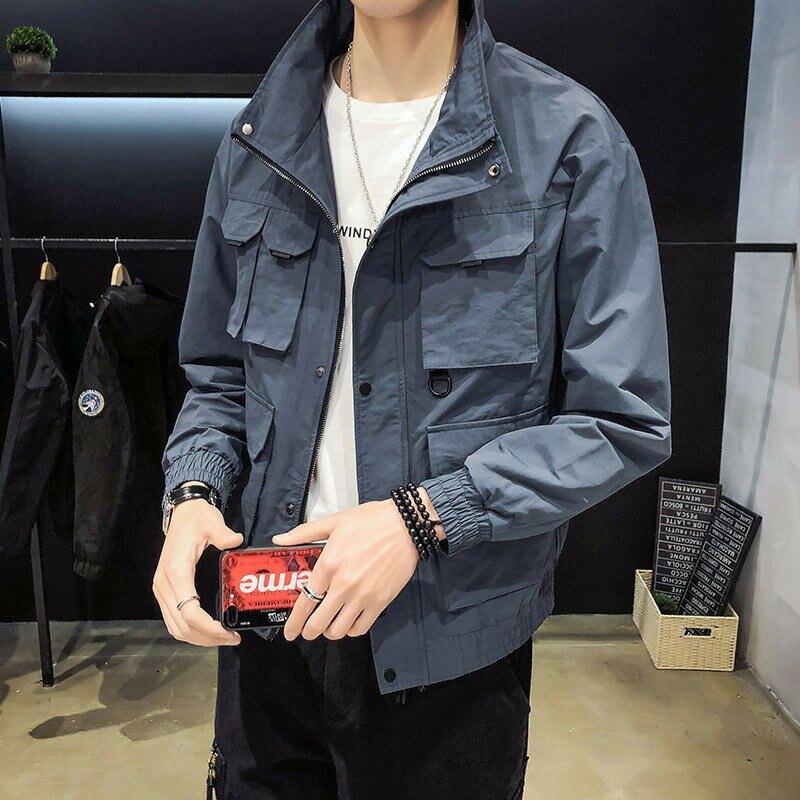 工裝品質夾克男型男風2020秋裝新款寬鬆工裝休閒夾克男中大尺碼外套男