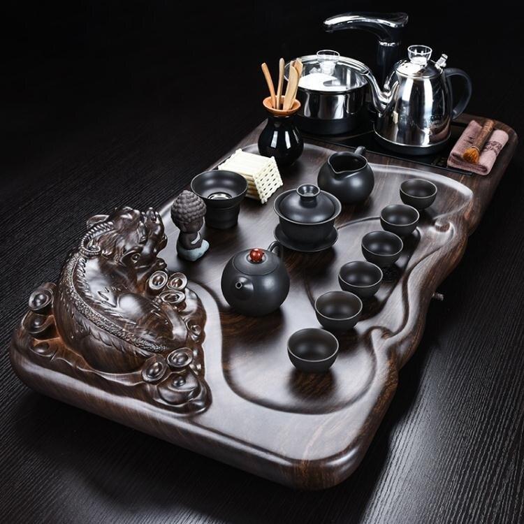 功夫茶具套裝整套陶瓷家用簡約現代實木茶盤茶海辦公室泡茶全自動 HM