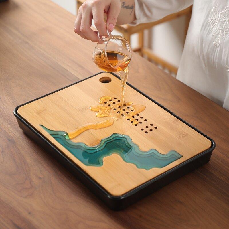 輕奢現代日式茶盤竹家用簡約功夫茶具套裝泡干客廳茶托盤瀝水盤小