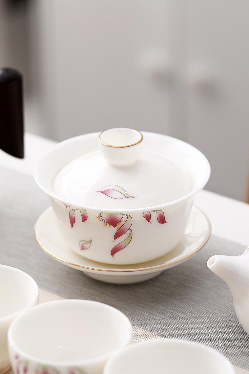 輕奢白瓷蓋碗功夫茶專用單個泡器三才碗茶碗陶瓷茶杯不燙手茶壺泡