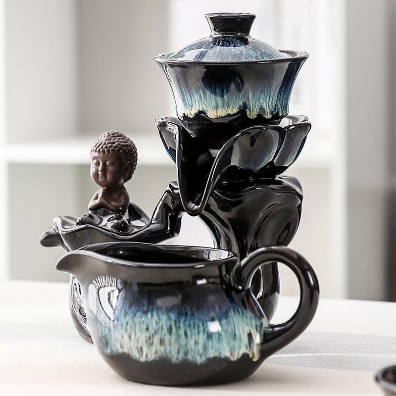 沙金窯變時來運轉自動茶具懶人泡茶器功夫茶壺陶瓷單壺家用