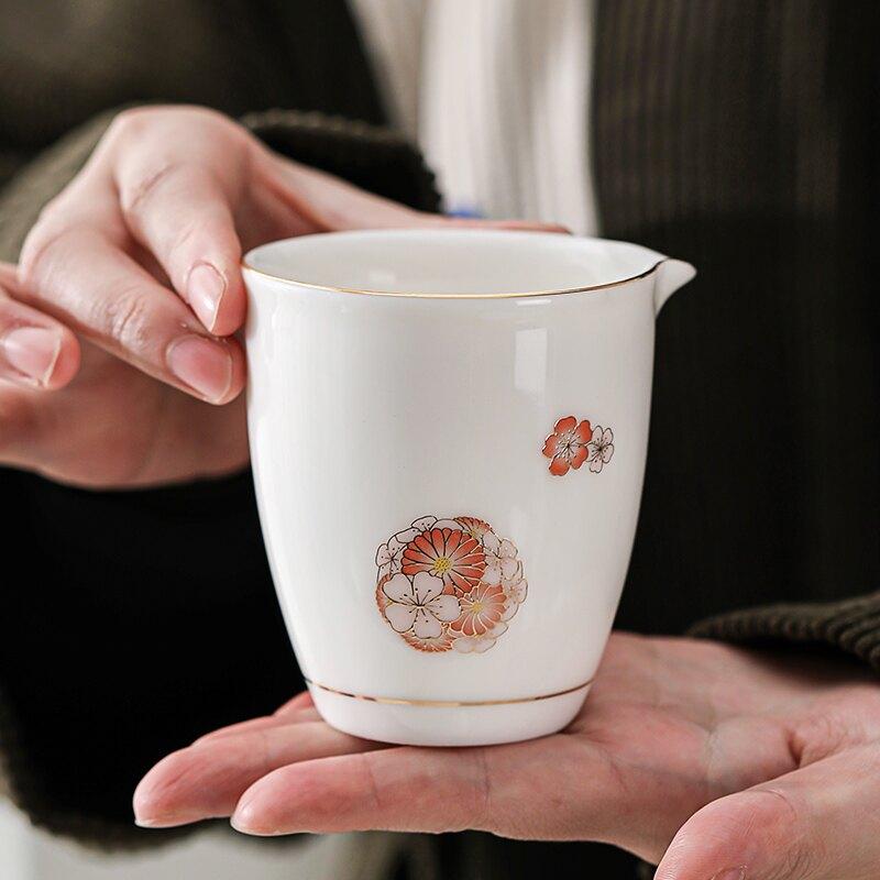 輕奢羊脂玉白瓷茶具公道杯功夫公道壺泡茶公杯陶瓷茶海單個家用