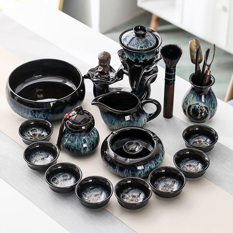 輕奢窯變時來運轉自動功夫茶具套裝茶懶人茶器客廳家用壺杯泡小套