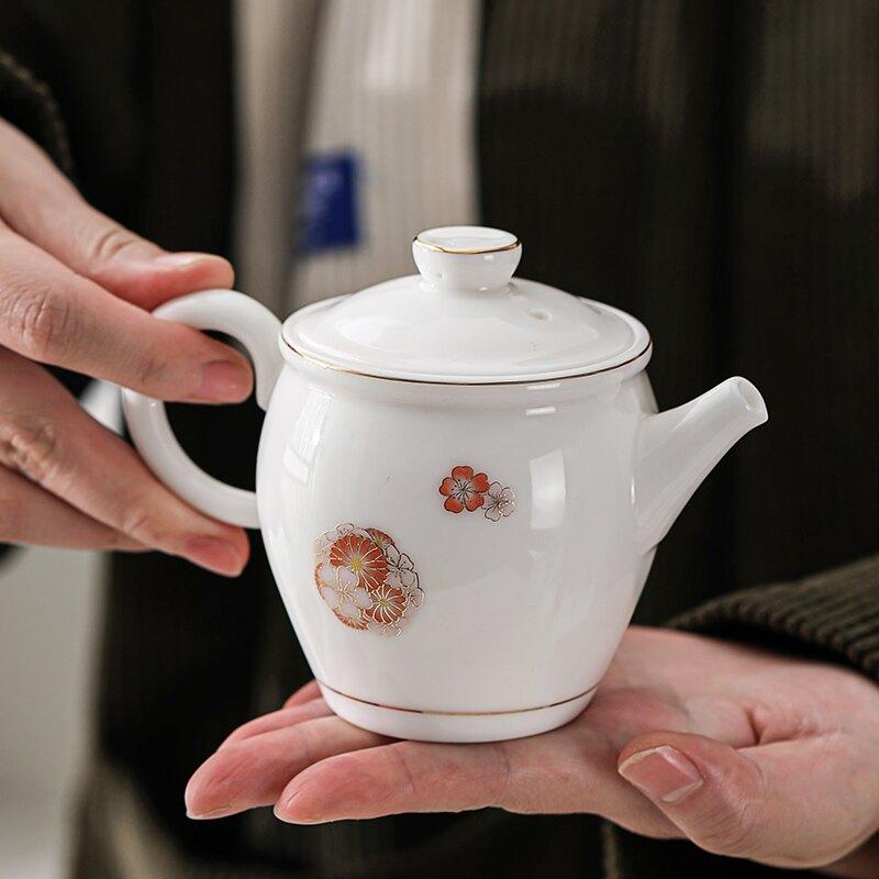 輕奢羊脂玉茶具套裝日式白瓷茶壺泡茶器辦公室陶瓷小單壺家用單個
