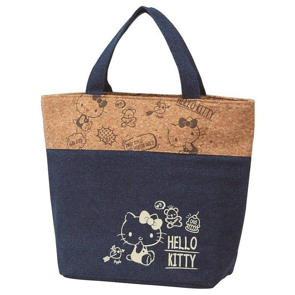 【積文館】牛仔布風保冷袋 日本進口 凱蒂貓 HelloKitty 保溫保冷 手提包 冷凍(33*25.5cm)