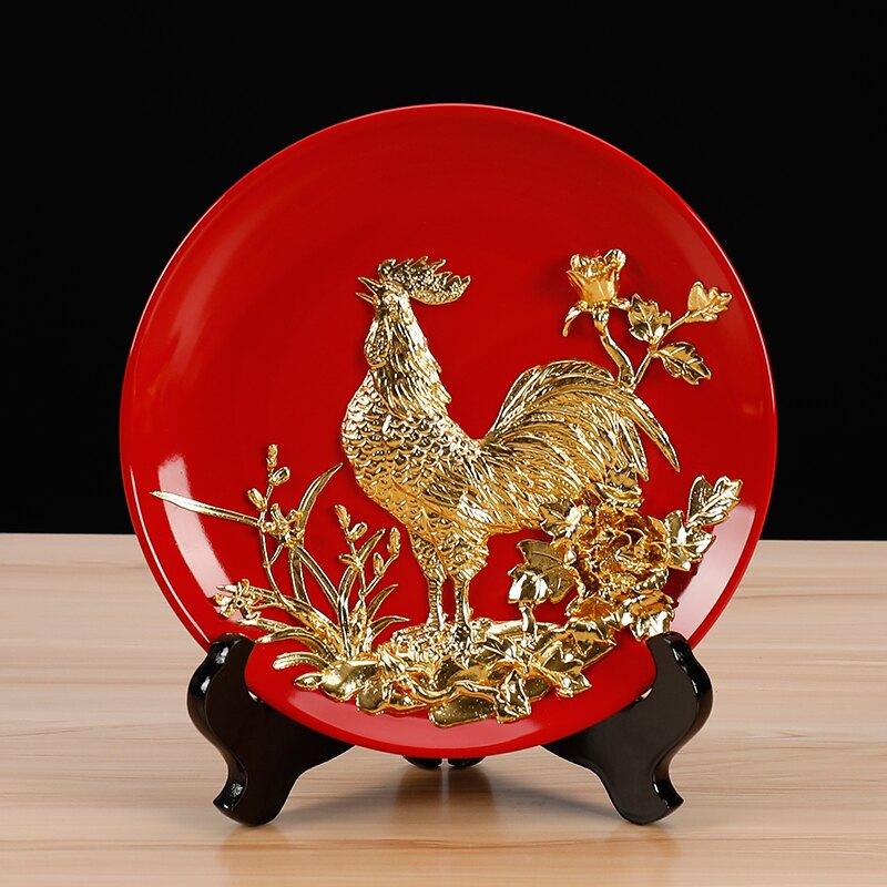 金雞報曉漆線雕掛盤子擺件書房博古架桌面擺設用品裝飾創意