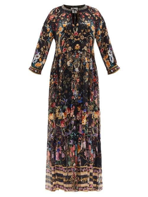 Camilla - Blushing Manor Gathered-panel Silk Maxi Dress - Womens - Black Print