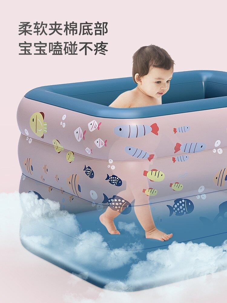 充氣泳池 嬰兒游泳池兒童戲水池新生兒寶寶加厚家用游泳桶折疊充氣游泳浴缸ZHJG191
