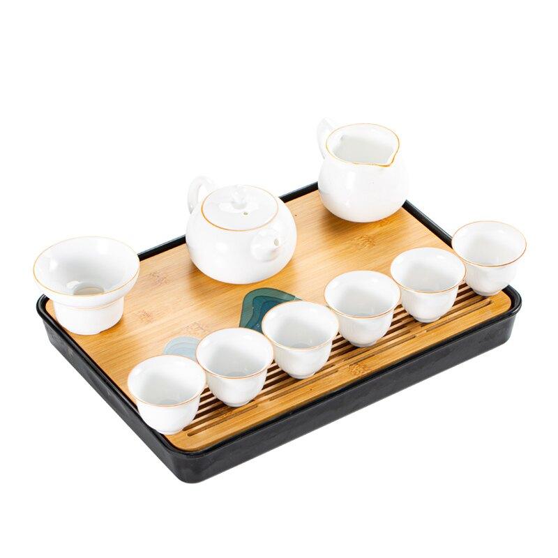 輕奢白瓷功夫茶具套裝家用客廳茶辦公室會客壺杯小茶盤陶瓷茶器泡