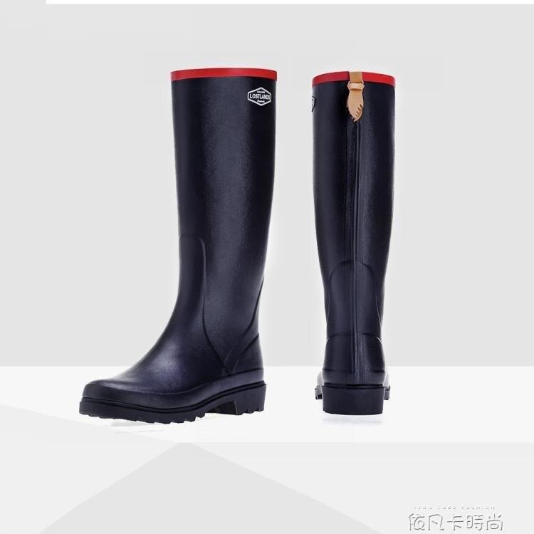 好雨時節 天然橡膠秋冬款高筒雨鞋女式時尚雨靴加絨保暖雨靴膠鞋