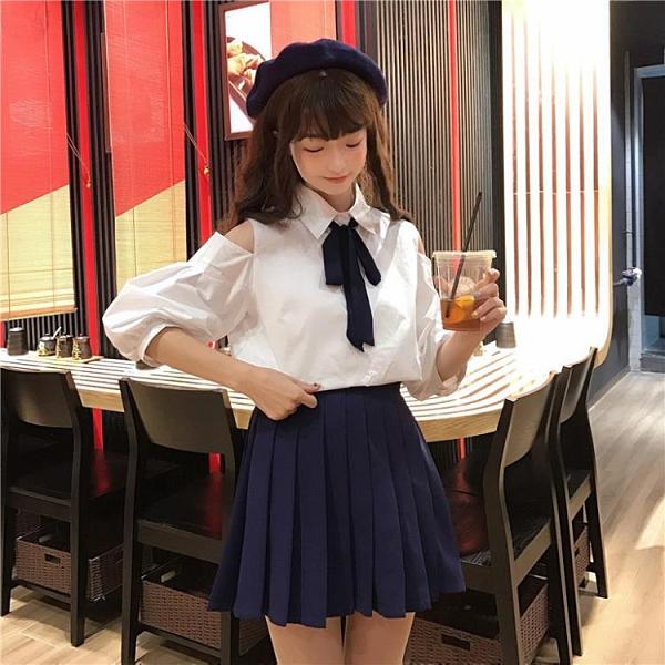 小心機襯衫 韓國襯衫夏季新款韓版直筒系帶POLO領露肩燈籠袖黑白格子上衣女
